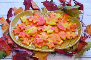 Fall Foliage Sugar Cookies on a pumpkin plate