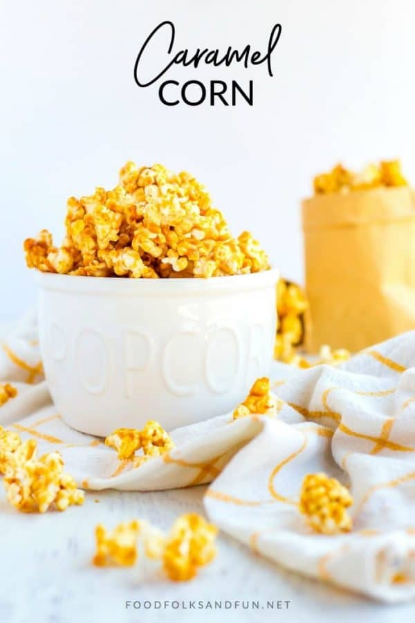 Caramel popcorn with text overlay for Pinterest.