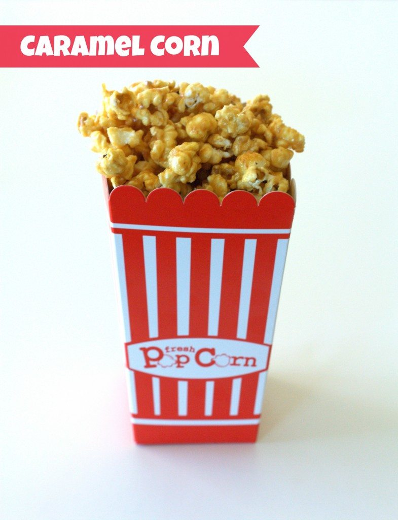 Caramel Corn in a popcorn paper container with text overlay for Pinterest