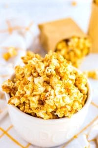 Caramel corn piled high in a bowl.