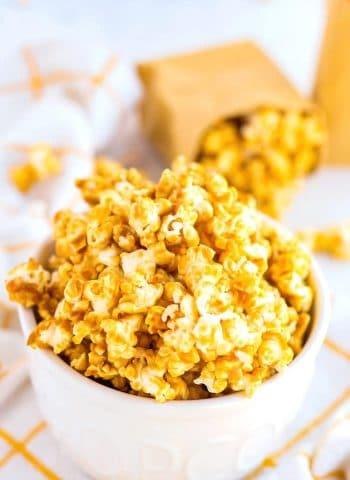 Caramel corn piled high in a bowl.