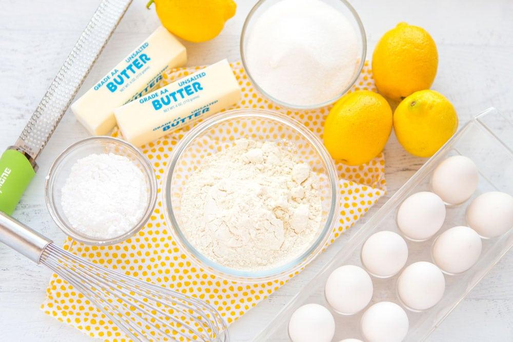 The ingredients for Lemon Bars.