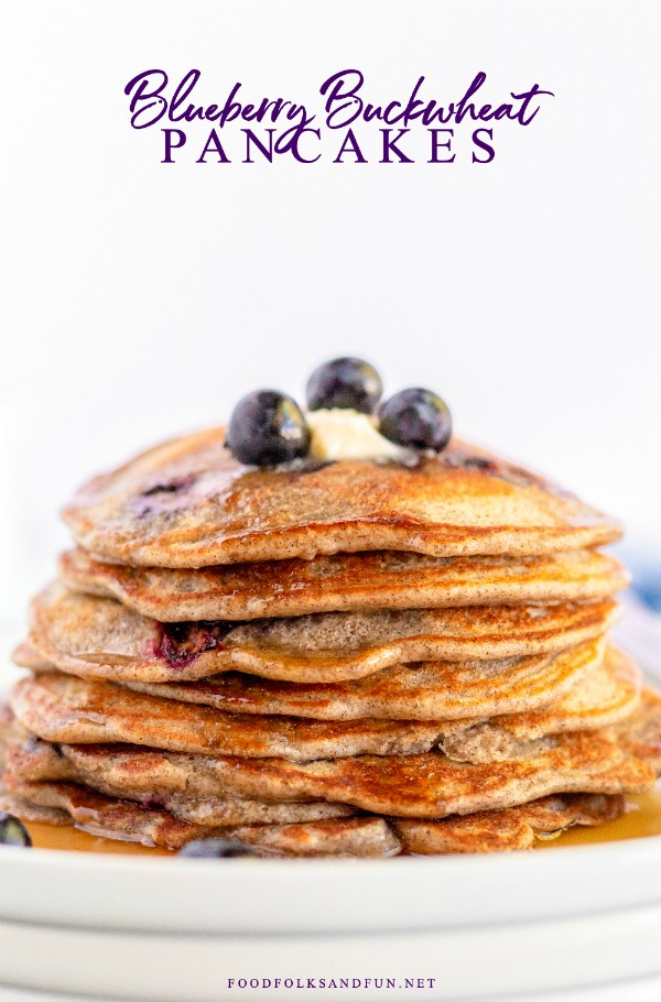 These Blueberry Buttermilk Buckwheat Pancakes are a delicious, healthier alternative to traditional buttermilk pancakes. They're light and have a slightly nutty flavor. via @foodfolksandfun