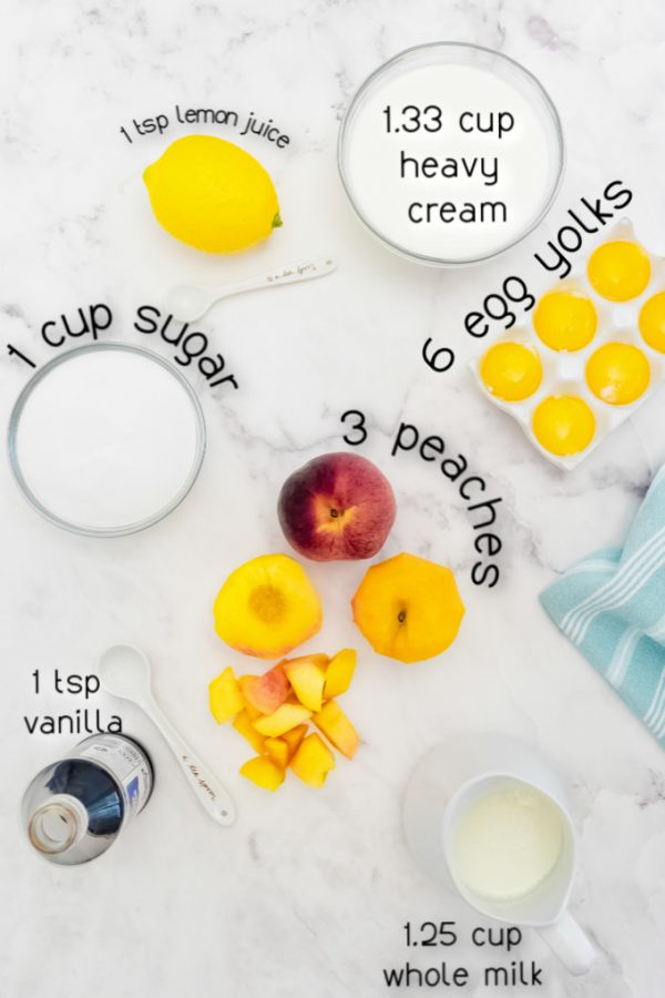 Overhead picture of peach ice cream ingredients.