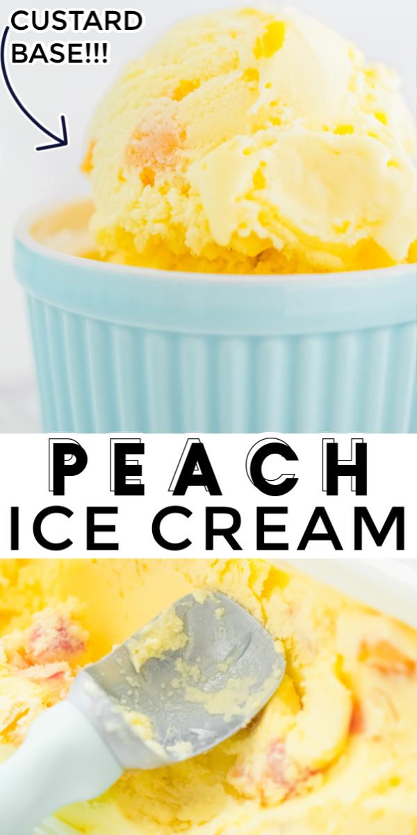This Homemade Peach Ice Cream recipe has a custard base and made with simple ingredients like fresh peaches, milk, cream, sugar, egg yolks, and vanilla. via @foodfolksandfun