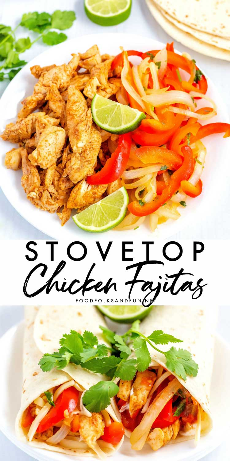 Pre-chopping the chicken makes this stovetop chicken fajitas recipe cook in just minutes. They will quickly become a favorite at your house.