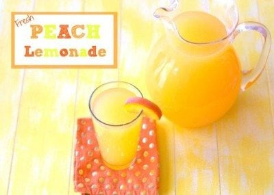 A glass and pitcher of Peach Lemonade with text overlay for Pinterest