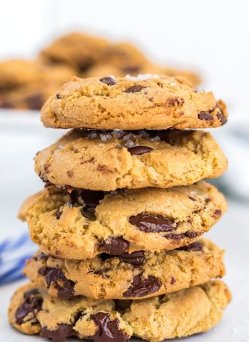 Chocolate Chip cookies stacked on top of each other.