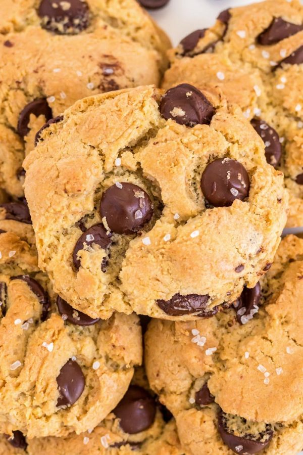 Close up picture of chocolate chip cookies.