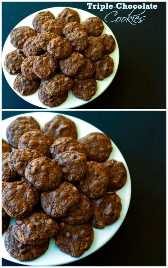 Triple Chocolate Cookies: unsweetened, bittersweet, and semisweet chocolate all packed into one cookie that is fudgy, rich and has intense chocolate flavor.