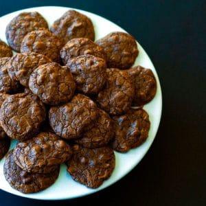Overhead shot of chocolate cookies.