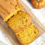 A Pumpkin Bread recipe that uses 1 can of pumpkin and makes two loaves.