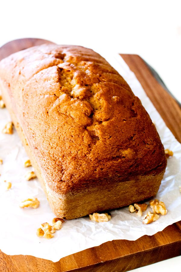 Fall is here and that means it's Pumpkin Bread season! No Fall is complete without my mom's Pumpkin Pie-Spiced Pumpkin Bread! It uses 1 can of pumpkin and makes 2 loaves.