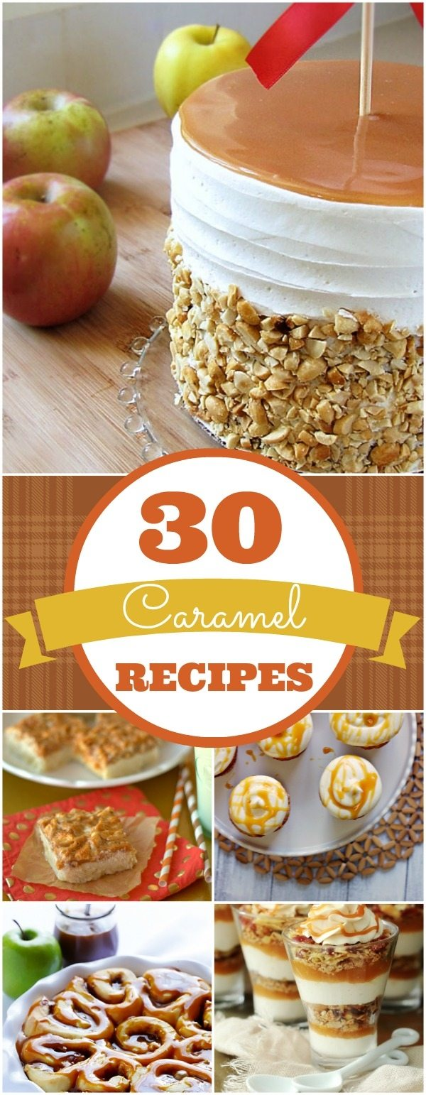 a collage of caramel recipes with text overlay for Pinterest