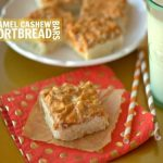 Caramel Cashew Shortbread bars with text overlay for Pinterest