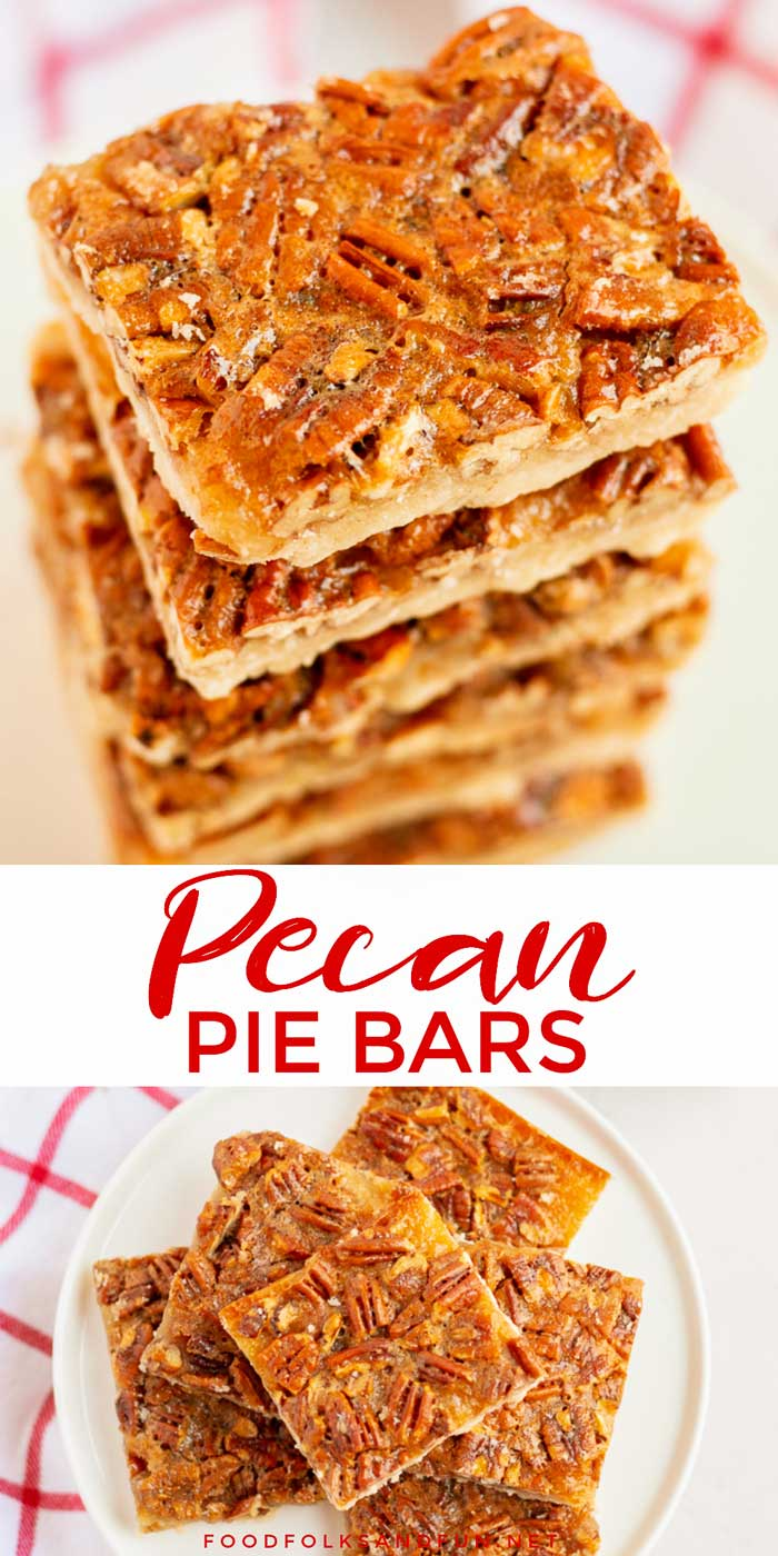 These Pecan Pie Bars are so easy to make and believe it or not BETTER than pecan pie! They're rich, silky, and the shortbread crust is the stuff your buttery dreams are made of! via @foodfolksandfun