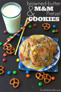 Cookies on a colorful plate with text overlay for Pinterest.