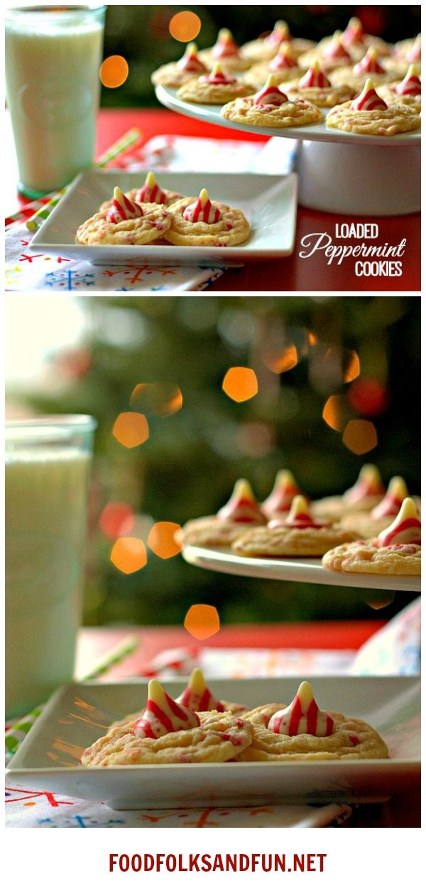 Loaded Peppermint Cookies for all of you peppermint lovers out there! This Christmas cookie recipe is so quick and easy to make! via @foodfolksandfun