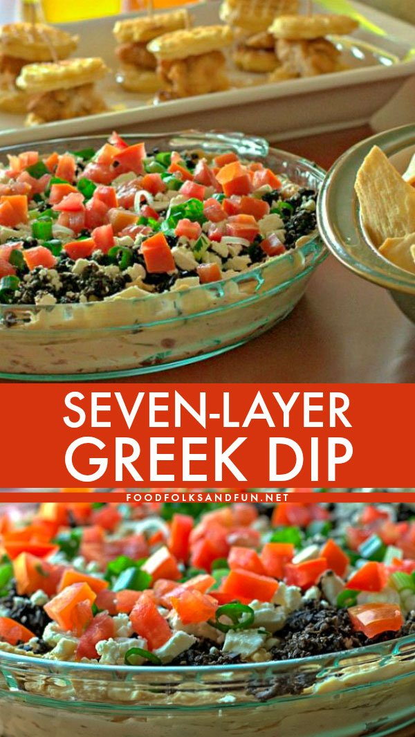 This 7 Layer Greek Dip is a quick and easy appetizer for game day and parties! This Greek layer dip is a surprising dish that folks just love! via @foodfolksandfun