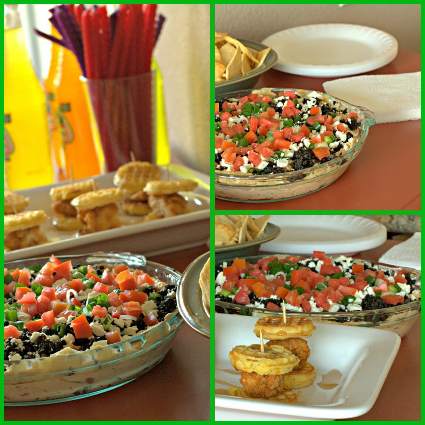A collage of 7 layer Greek Dip and Chicken and Waffles