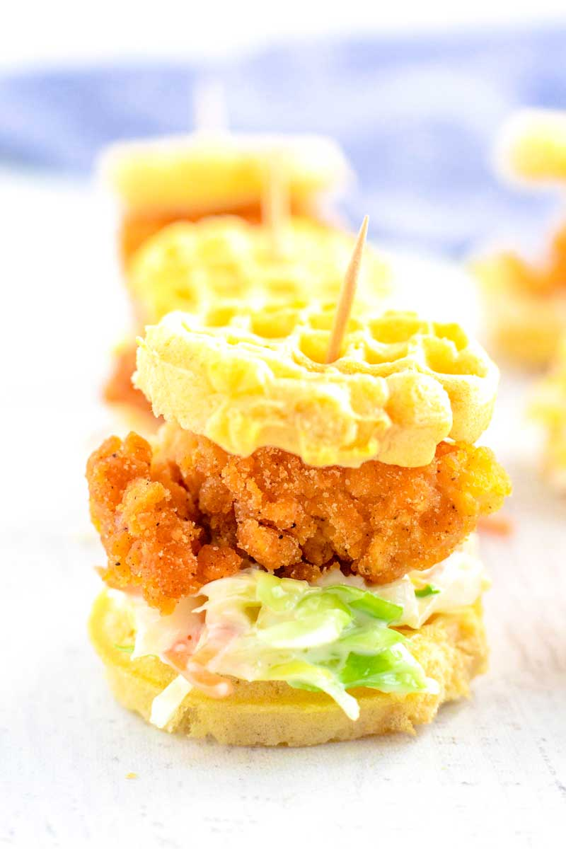 Chicken and Waffle Sliders with Creamy Coleslaw