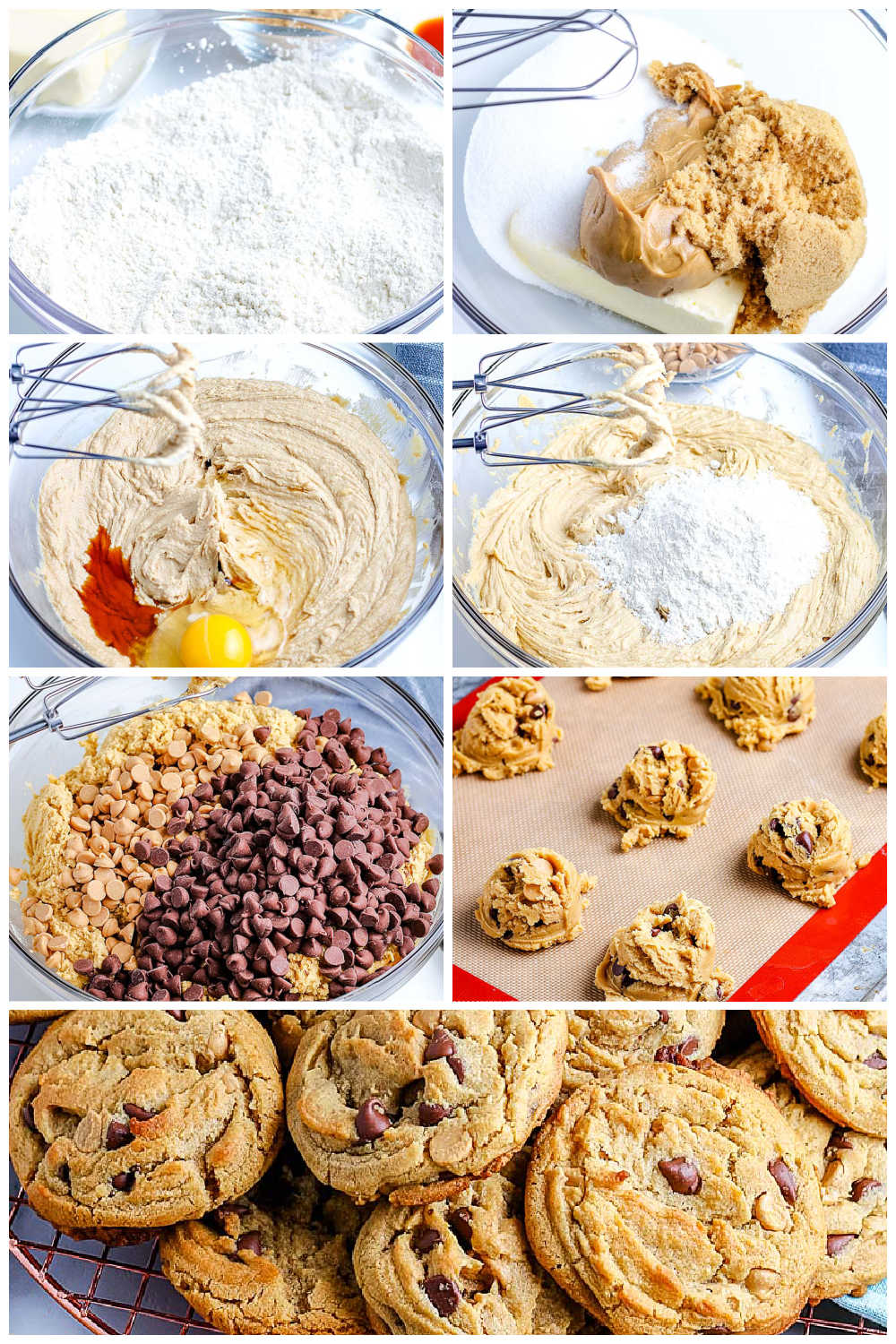 A picture collage of how to make peanut butter chocolate chip cookies.