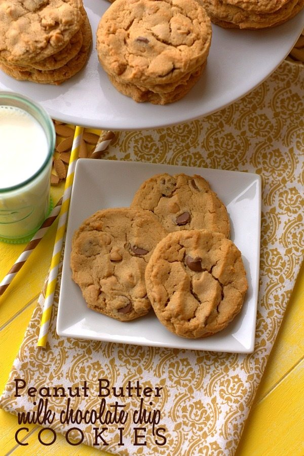 These Peanut Butter Chocolate Chip cookies and thick, chewy, and loaded with peanut butter flavor and milk chocolate chips!  via @foodfolksandfun