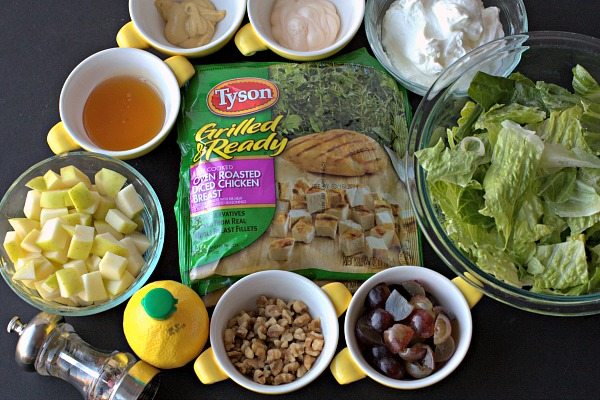 All of the ingredients needed to make this Waldorf chicken salad wraps recipe.