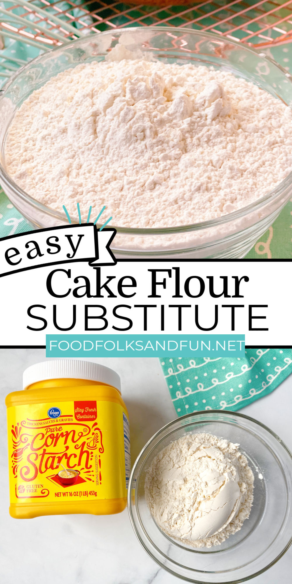 Cake Flour Substitute is easy to make at home! All that you need is just two ingredients: all-purpose flour and cornstarch. via @foodfolksandfun
