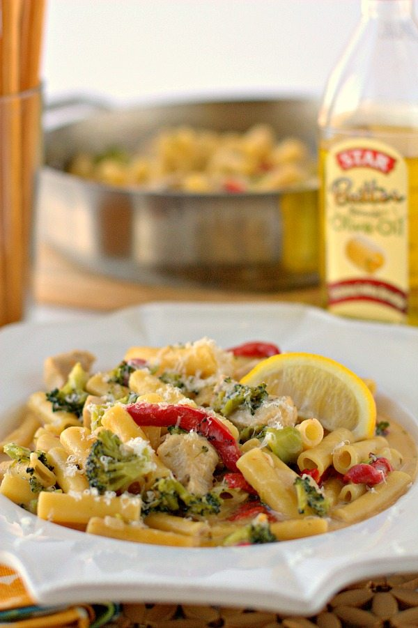One-pot Greek Pasta with Lemon and Chicken on a plate