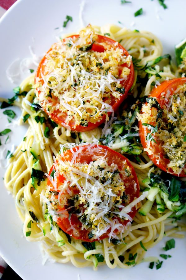 Tomatoes Parmesan with Zucchini Pasta