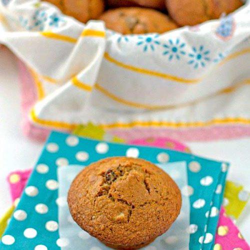 Basket full of bran muffins.