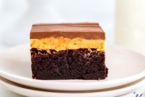 A close up picture of a chocolate and peanut butter brownie.