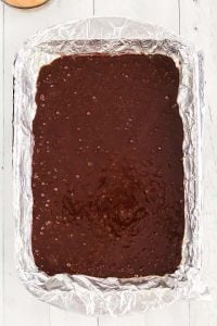 Pour the brownie batter into the prepared pan and bake.