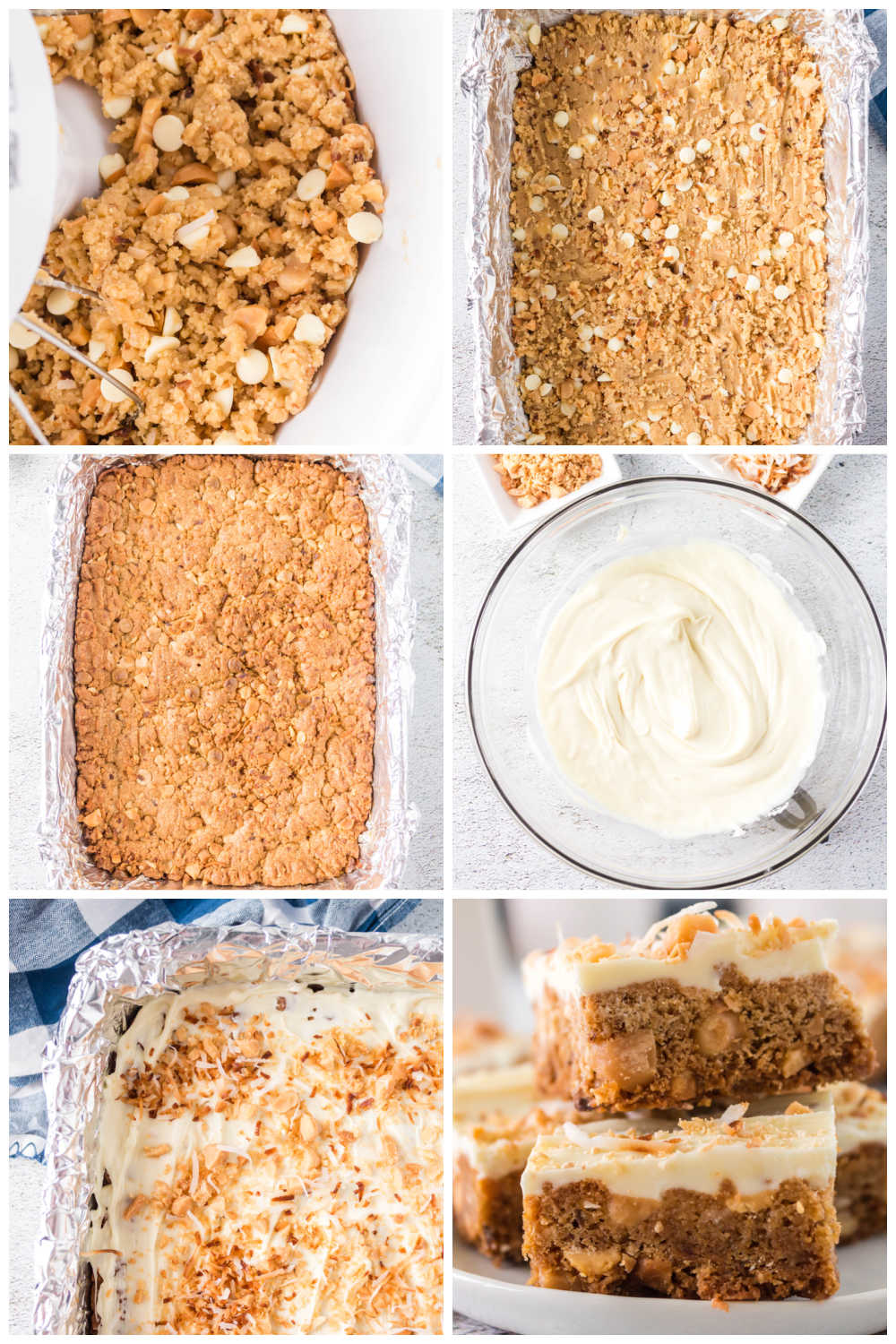 A picture collage of how to make this White Chocolate Blondie recipe.