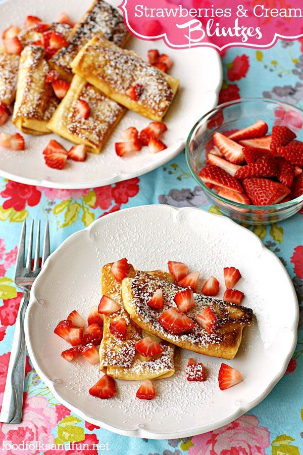 Strawberries & Cream Cheese Blintzes