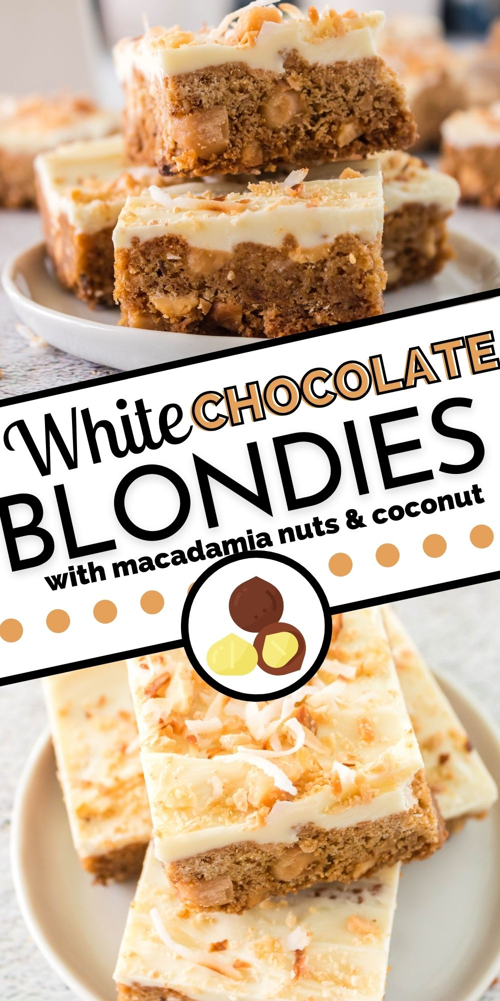 These White Chocolate Blondies with Macadamia Nuts and Coconutare perfect for potlucks and parties, get-togethers, and bake sales. They're bakery-quality, and people go nuts over them! via @foodfolksandfun