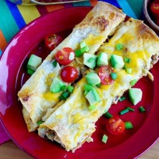 Overnight Breakfast Enchiladas on a plate