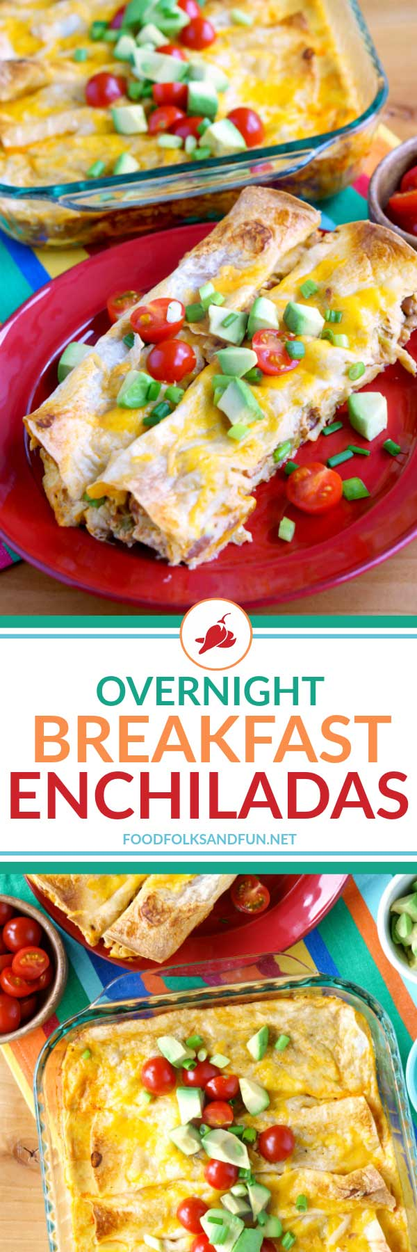 These Overnight Breakfast Enchiladas are EVERYTHING! They're loaded with hash browns, pinto beans, green chilies, bacon, eggs, enchilada sauce, and cheese! via @foodfolksandfun