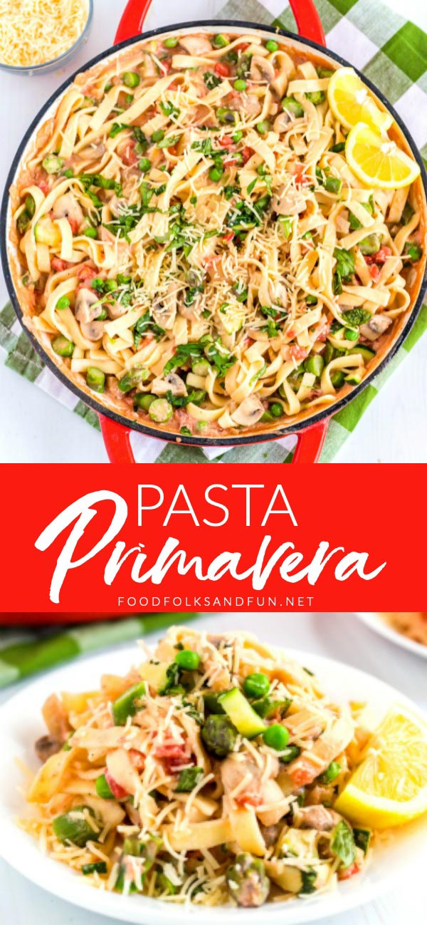 This Easy Pasta Primavera recipe is a quick weeknight dinner that is full of flavor and in-season veggies like asparagus, zucchini, peas, mushrooms, and tomatoes. The creamy sauce is perfectly seasoned with aromatics, fresh herbs, and Parmesan Cheese. Are you hungry yet?! via @foodfolksandfun