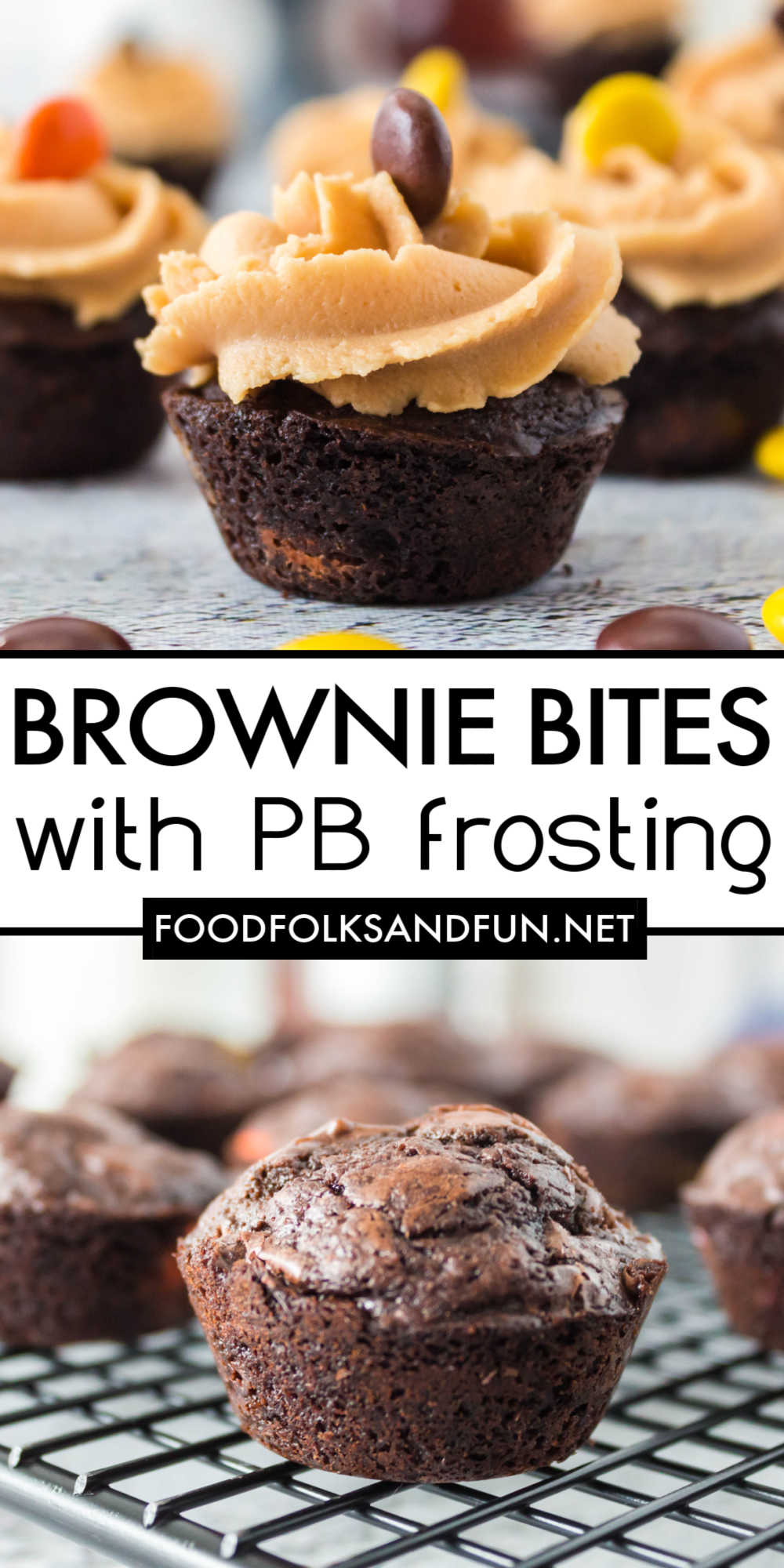 Get your chocolate and peanut butter fix with this mini Brownie Bites recipe with Peanut Butter Frosting. Pantry baking never tasted so good! via @foodfolksandfun