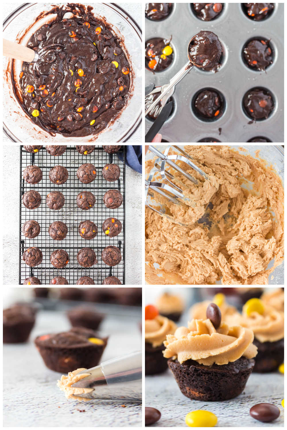 A picture collage of how to make Brownie Bites with Peanut Butter Frosting for Pinterest.