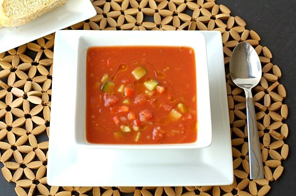 Healthy and Easy Gazpacho in a bowl