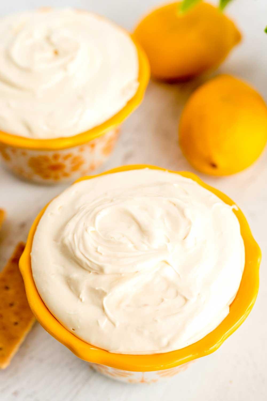 Creamy, fluffy lemon cream pie cheesecake dip.