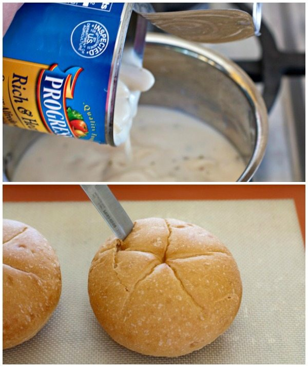 Process shots of making Parmesan Soup Bread Bowls