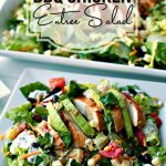BBQ Entree Chicken Salad on a plate with text overlay for Pinterest