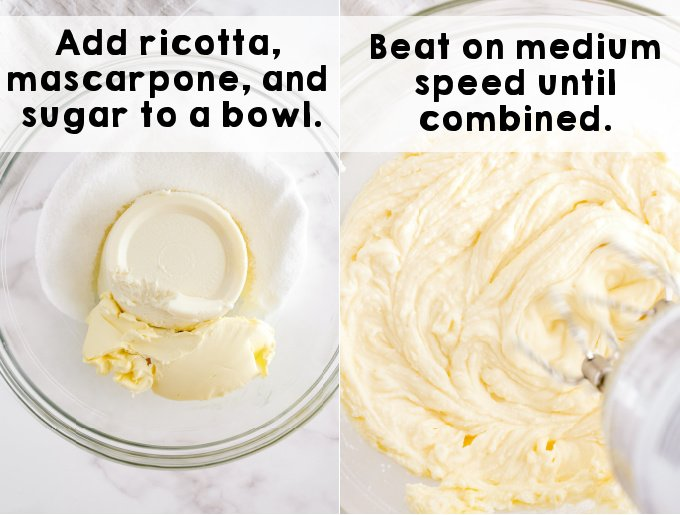 The ricotta cheese and sugar being beat with a handheld mixer.