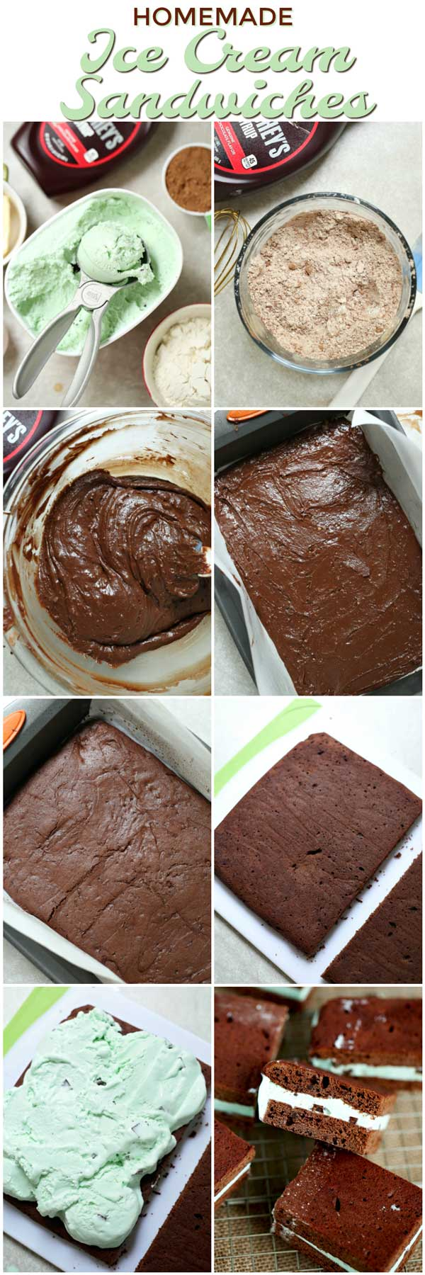 Picture collage of the steps to make ice cream sandwiches.