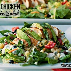 BBQ Chicken Entree Salad with croutons with text overlay for Pinterest
