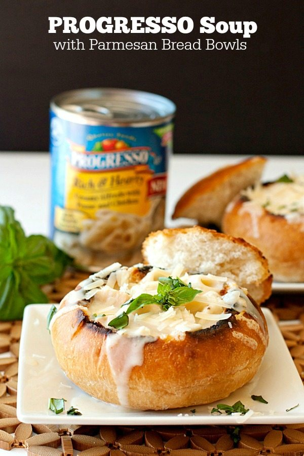 Semi-homemade dinner with Progresso Soup and Parmesan Bread bowls